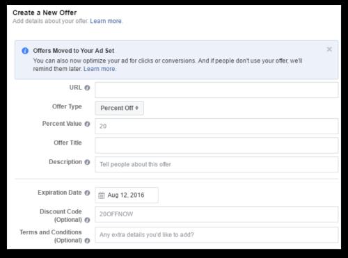 Facebook ads let you tailor your offer