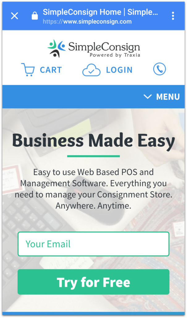 SimpleConsign's website is mobile friendly