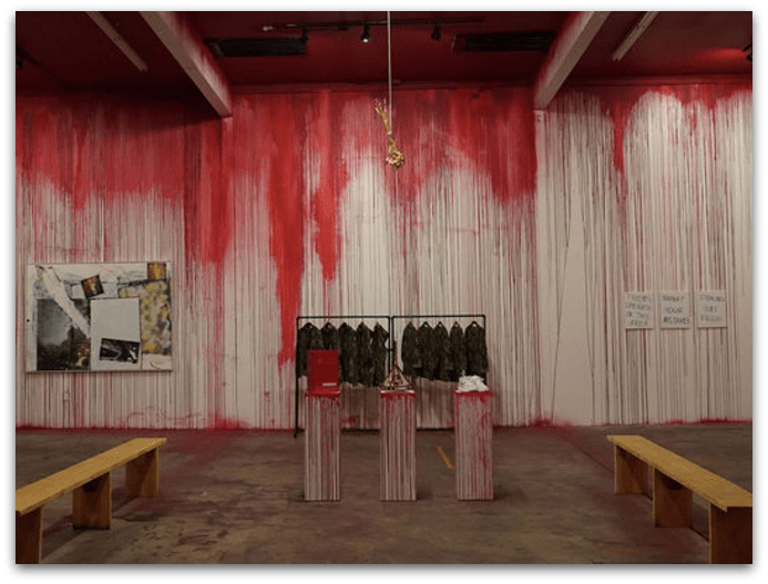CLOT's store merchandising used fake blood on the walls