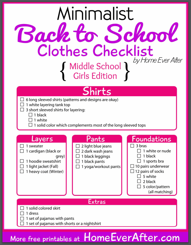 Back-to-school checklist example