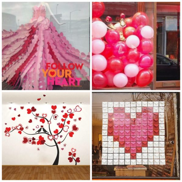 Some final window decoration ideas for Valentine's Day