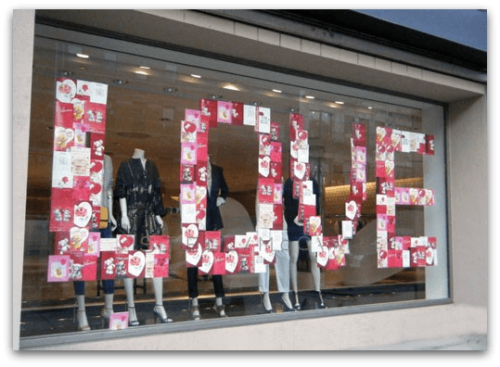 Window decorations using Valentine's cards