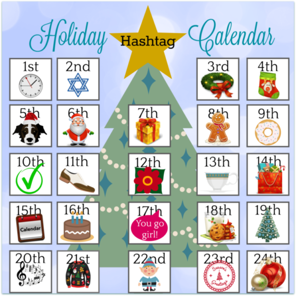 24 days of holiday hashtags