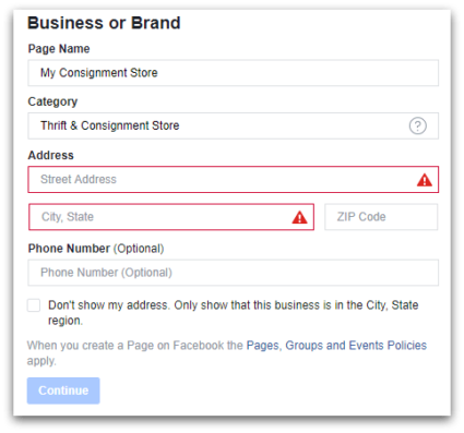 Do fill in your address on your consignment Facebook page