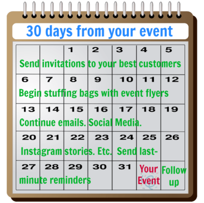 30 days before your consignment store event invite your customers