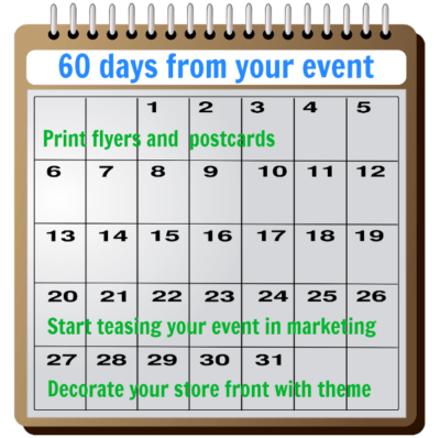 60 days from your consignment store event start your marketing