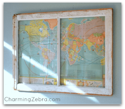 Summer consignment store window displays should definitely include maps