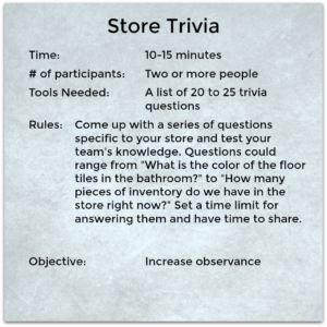 Build fun sales team rapport by playing the Store Trivia Game