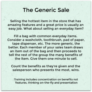 Practice making a generic sale with your sales team
